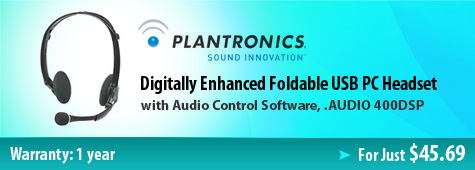 Plantronics AUDIO 400DSP Digitally Enhanced Foldable USB PC Headset