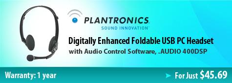 Plantronics AUDIO 400DSP Digitally Enhanced Foldable USB PC Headset