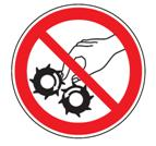 Do not reach into the feed-opening of the cutting head