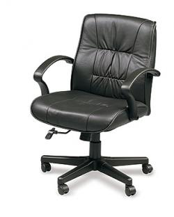 Eurotech Mid Back Black Leather Ergonomic Chair - Esteem 555