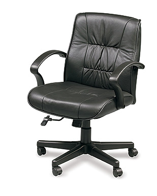 Eurotech Mid Back Black Leather Ergonomic Chair - Esteem 555