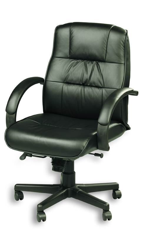 Eurotech Mid Back Black Leather Office Chair - Ace 758