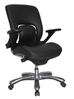 Eurotech Mid back Black Leather Office Chair - Vapor LE32VAP