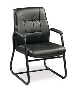Eurotech Mid Back Black Leather Guest Chair - Ace 564G