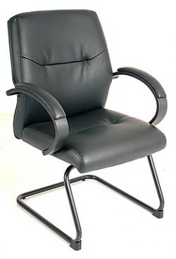 Eurotech Mid Back Black Leather Guest Chair – Maxx LEG470