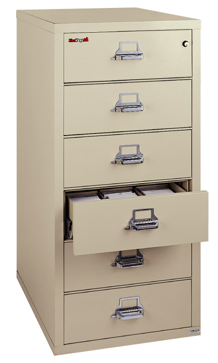 FireKing 6 Drawer Card-Check-Note Filing Cabinet 6-2552-C