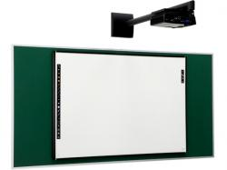 PolyVision eno one solution consisting of Classic eno2810 Interactive Whiteboard, WXGA Projector, and Fixed Wall Arm Mount