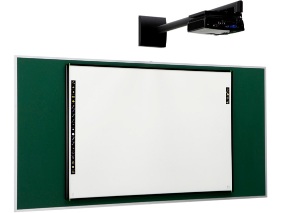 PolyVision eno one solution consisting of eno Click 2650 Interactive Whiteboard, WXGA Projector, and Fixed Wall Arm Mount