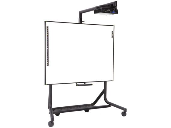 PolyVision eno one solution consisting of Classic eno2810 Interactive Whiteboard, WXGA Projector, and Height Adjustable Mobile Stand