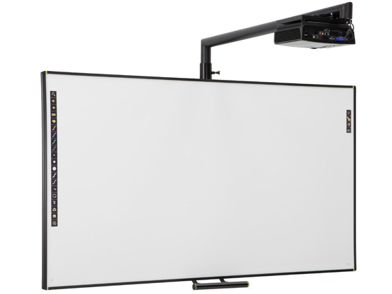 PolyVision ēno one solution consisting of Classic eno2810 Interactive Whiteboard, WXGA Projector, and Height Adjustable Mount